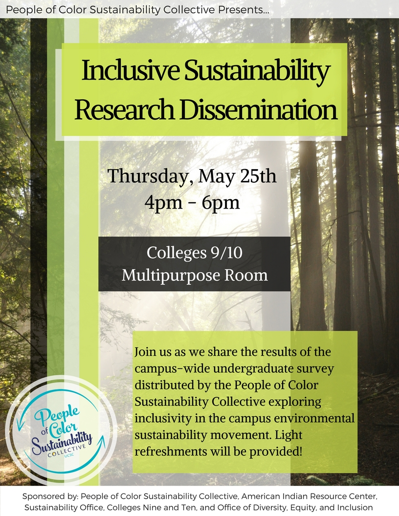 flyer for the Inclusive sustainability research dissemination on Thursday may 25th from 4-6pm in the colleges nine and ten multipurpose room